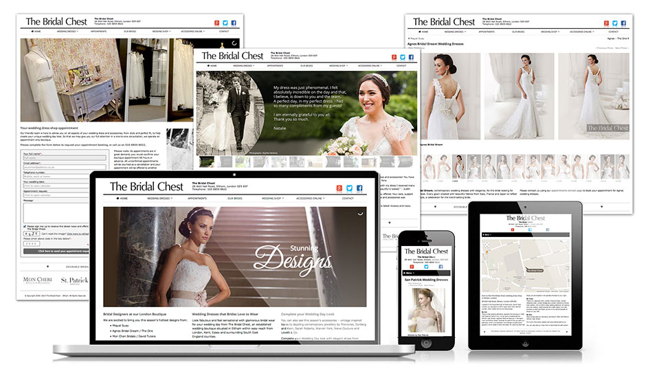 The Bridal Chest wedding boutique. Website design.